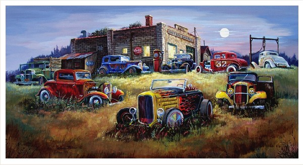 """Dale Klee /""""Changing Colors/"""" Old Rusty Cars SN Print 20/"""" x 11/"""""""